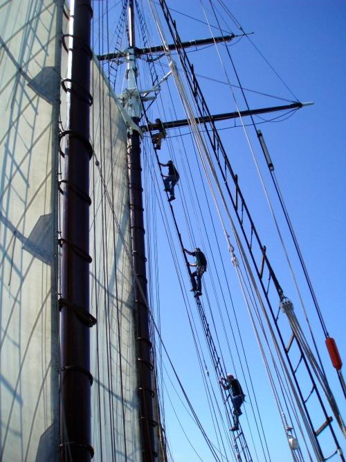 Topmen go aloft