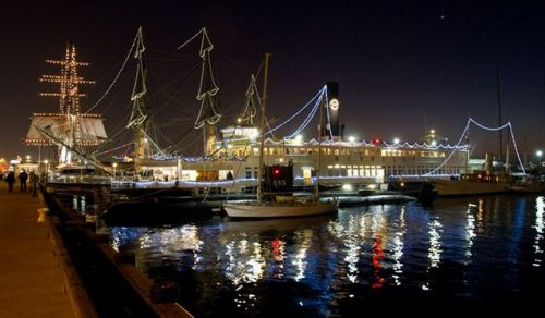 Maritime Museum ships with holiday lights